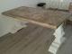 Kloostertafel met mozaiek blad van gebruikt steigerhout met lak afwerking